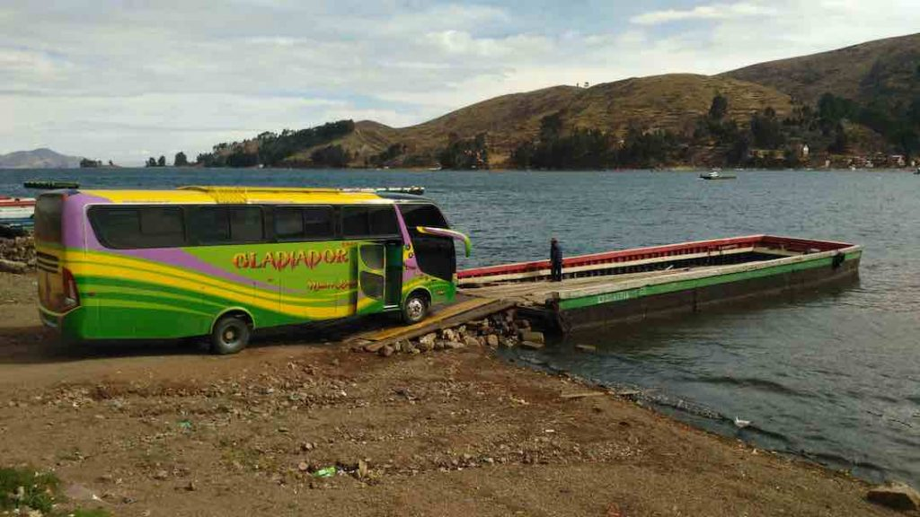 Bus crossing at Lake Titicaca in Bolivia