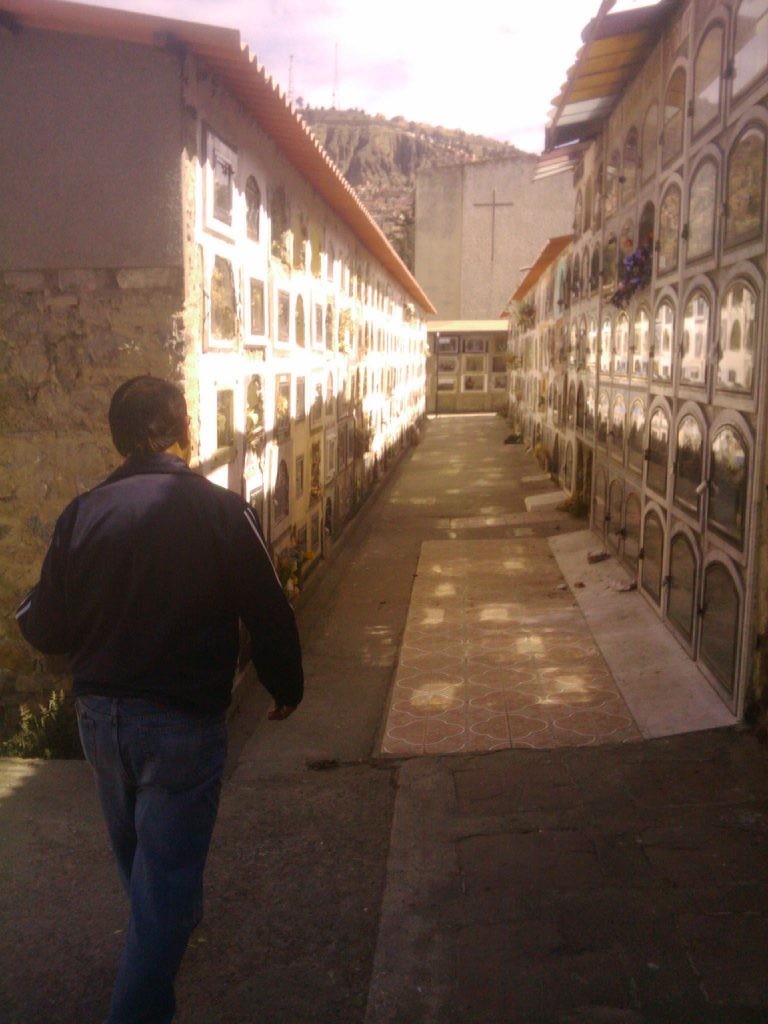 Uncle Rolo visiting cemetery La Paz, Bolivia