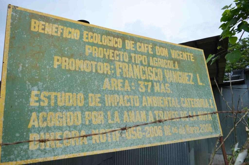 Don Vicente coffee farm sign Chiriqui Panama