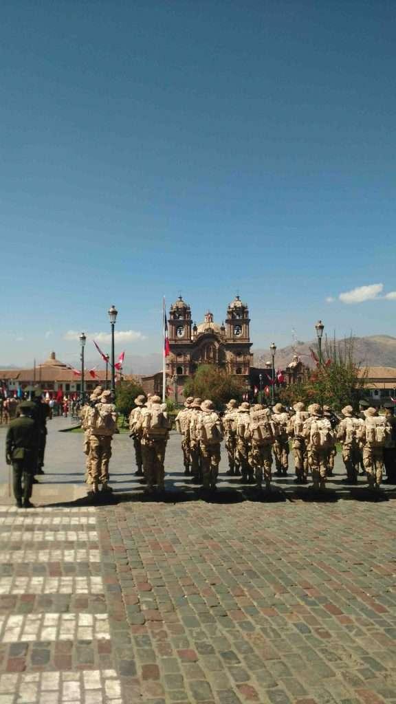 Military march in Cusco, Peru